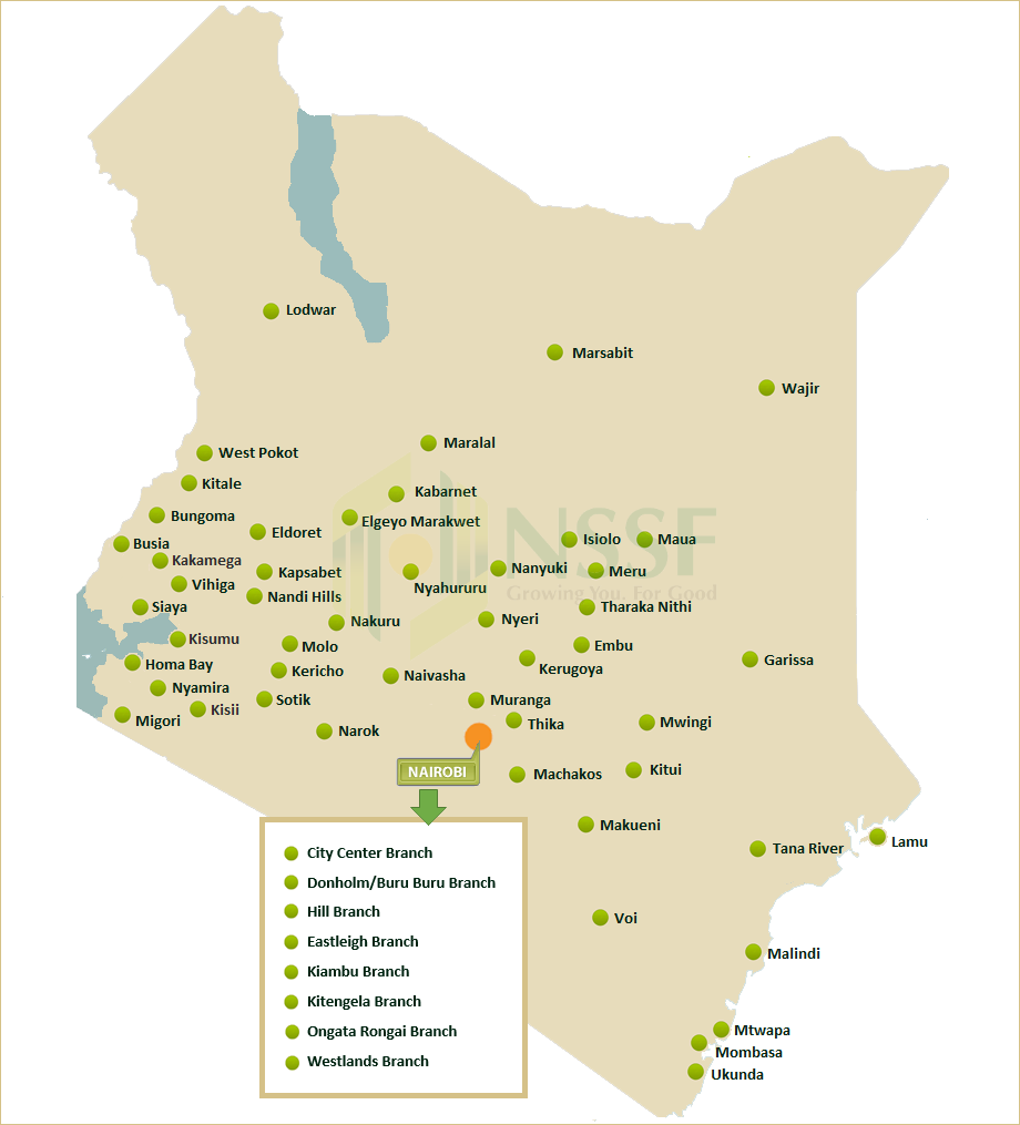 NSSF Kenya Growing You For Good NSSF Branch Network - Where is kenya located