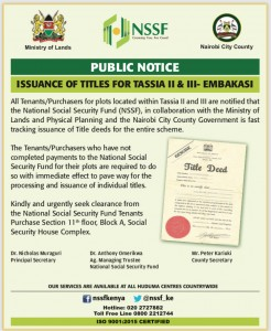 Issuance of Titles for Tassia Embakasi