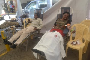 NSSF staff member donating blood
