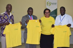 The NSSF team with the branding adjudicators handing over branded t-shirts to the winners at the Kenya Music Festivals.